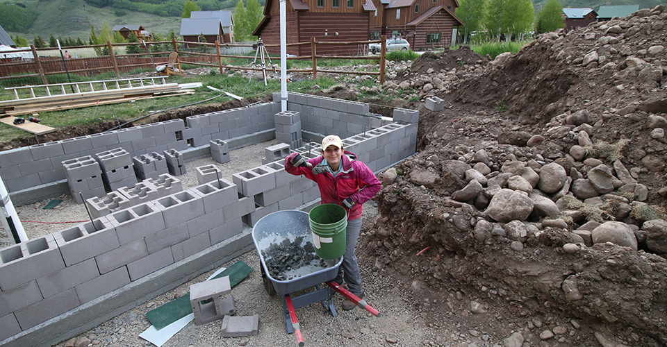Kara Holzmiller Installing the Concrete Block Wall