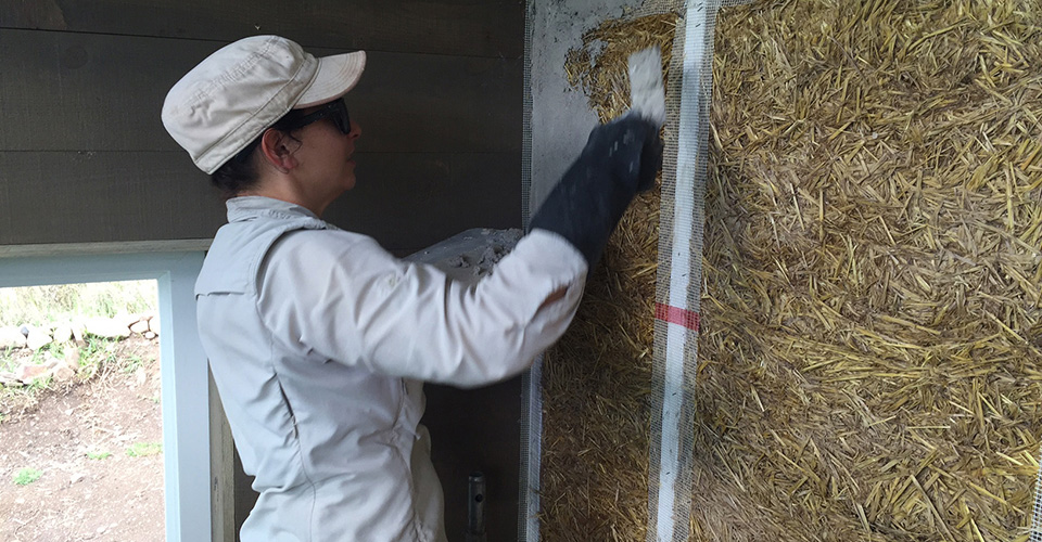 Kara Holzmiller Lime Plastering the Greenhouse Wall