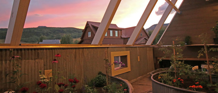 Sunset in the Passive Solar Greenhouse